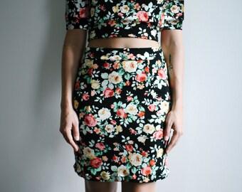 Long Sleeve Floral Mini Dress Separates, Long Sleeve Tee Shirt, Mini Skirt, Fall Fashion Mix and Match Capsule Wardrobe- Custom Fabrics