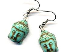 Buddha Earrings, Magnesite Turquoise Buddha Charms Earrings, Yoga Zen Earrings, Surgical Steel Earrings, Handmade by AnnaArt72