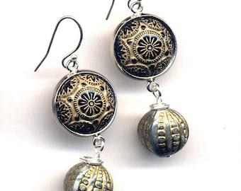 Sterling Silver Art Deco Earrings, Vintage Glass Earrings, Black Gold Grey  925 silver Earrings, handmade jewelry by annaart72