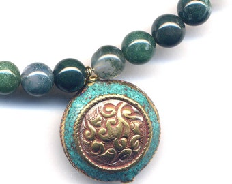 Tibetan Turquoise Pendant Moss Agate Necklace, Nepal  Necklace, Ethnic Moss Agate Necklace, Green color Necklace, Nepal Jewelry by AnnaArt72