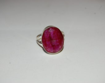Large, Oval Raw Ruby Semi-Precious Stone Sterling Silver Ring, Statement Ring