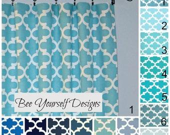 """Blue Moroccan Curtain Panels, Set of 2 Drapes, Fynn Quatrefoil,Trellis Premier Prints, 25"""" or 50"""" wide - Choose color and length"""