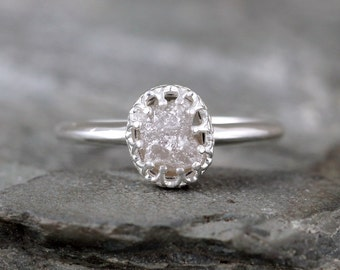 Raw Diamond Ring - Crown Style Setting - Sterling Silver - Rough Uncut Conflict Free Diamond - Engagement Rings - April Birthstone Ring
