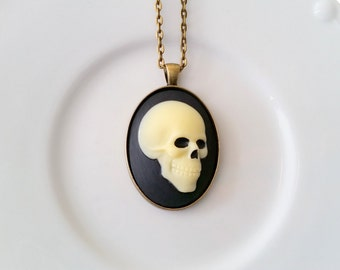 Skull Necklace, Skull Jewelry, Cameo Necklace, Gothic, Statement Necklace