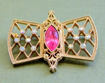1928 Brooch Pin Pink Rhinestone Gold Tone Vintage Signed