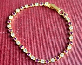 Vintage Rhinestone Bracelet Purple Clear Tennis Gold Tone Dainty
