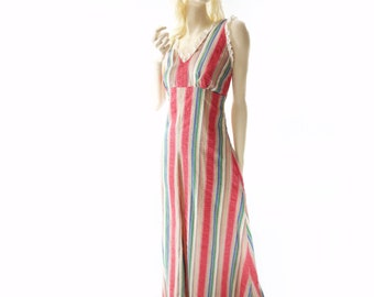 70s Boho Maxi Dress, Vintage Striped Maxi, Summer Maxi Dress, Cabana Vintage Maxi, Red Stripe Maxi, 1970s Maxi Dress, 1970s Boho, xs
