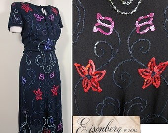 1940s Vintage Eisenberg & Sons Beaded and Sequined Crepe Dress SZ S