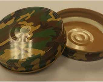 6 Camouflage Mason Jar Lids - Set of 6, Camo, Mason Jar, Party Favors, Hunting, For Him, Storage
