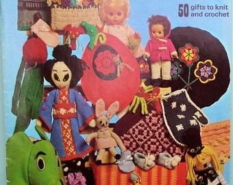 Vintage 1970s Knitting Crochet Patterns Book - Patons Bazaar Booklet UK - retro 70s small gifts-  toys dolls bags cushion covers tea cosies