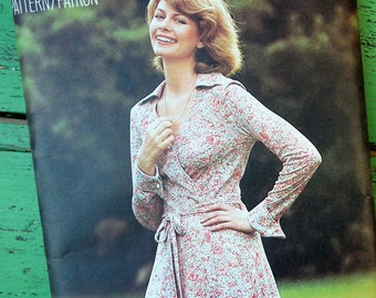 """Vintage 70s 80s Sewing Pattern Women's Dress Cross Over Front Wrapped Style Butterick See & Sew No. 5772 UK Size 14 36"""" Bust factory folded"""