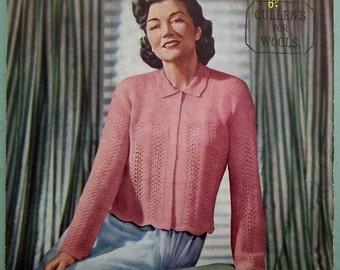 Vintage Knitting Pattern 1940s Women's Bed Jacket Bedjacket Dressing Jacket Lingerie Cardigan Sirdar No. 1335 UK 40s original colour pattern