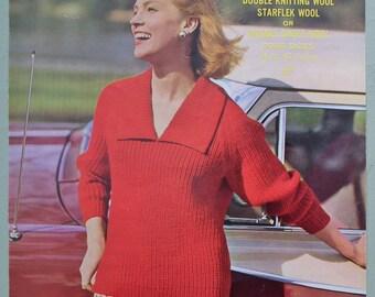 Vintage 1950s Knitting Pattern Women's Sweater Jumper ribbed design with collar - 50s original pattern Sirdar No. 1841 UK DK double knitting