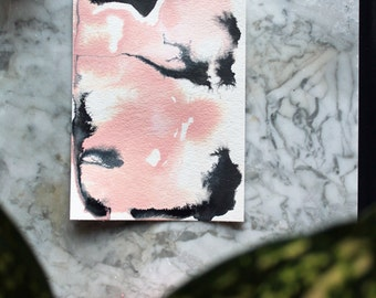 "Original abstract painting ""Dancing"" by Julie Tillman dusty peach, rose quartz, black, grey, white. Modern home decor. Contemporary art"