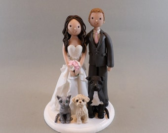 Cake Toppers - Bride & Groom with Pets Personalized Wedding Cake Topper
