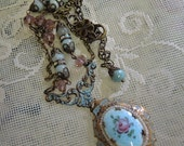 Enamel Assemblage Locket  Necklace -  Antique Blue Guilloche Enamel Locket Assemblage - REDuCED