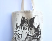 CAT - Eco-Friendly Market Tote Bag - Hand Screen printed (Ships FREE!)