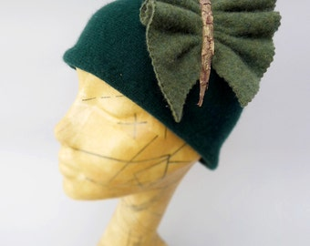 Butterfly Cloche in Forest Green Eco Cashmere