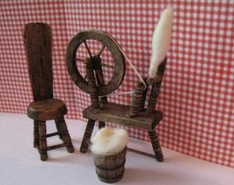 Dollhouse Miniature Tudor Spinning wheel, Dollhouse spinning wheel,  chair and wool basket-Tudor, Medieval wheel 1/12th scale