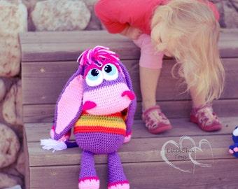 Crochet toy Amigurumi Pattern -Sweet Purple Donkey.