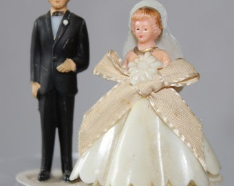 Vintage Bride and Groom Wedding Cupcake or Cake Topper, 1950's