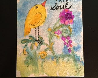 Christian whimsical inspirational watercolor bird painting It is Well With My Soul