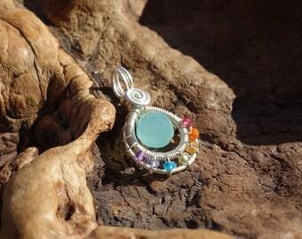 Peruvian Chalcedony Rainbow Chakra Circle Wire Wrapped Pendant ~ Sterling Silver, Genuine Gemstones, Rainbow