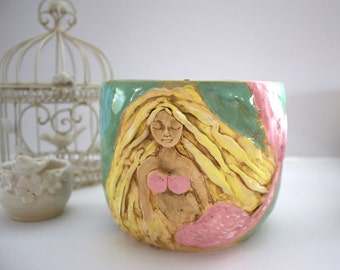 Mermaid Bowl - Handmade Pottery Serving Bowl - Coastal Decor - Altar Bowl Sculpture