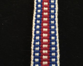 Handwoven Inkle Loom Sash. 100% Cotton.  Costume accessory for SCA, Historial Reenactments, Mountain Man Events, etc.  Item #23-1345.