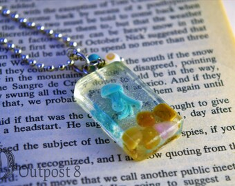 Turquoise Jellyfish Fish Tank Resin Necklace