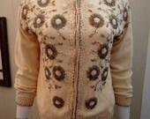 1960s Cream Beaded Cardigan Sweater