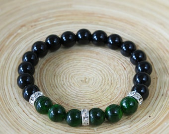 Chrome Diopside Onyx Bracelet . stacking chrome diopside black onyx bead bracelet jewelry