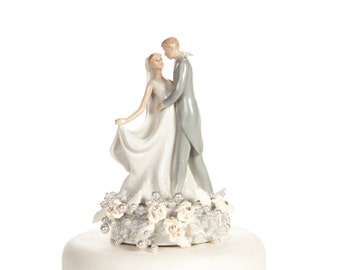Vintage Rose Pearl First Kiss Wedding Cake Topper - 101168
