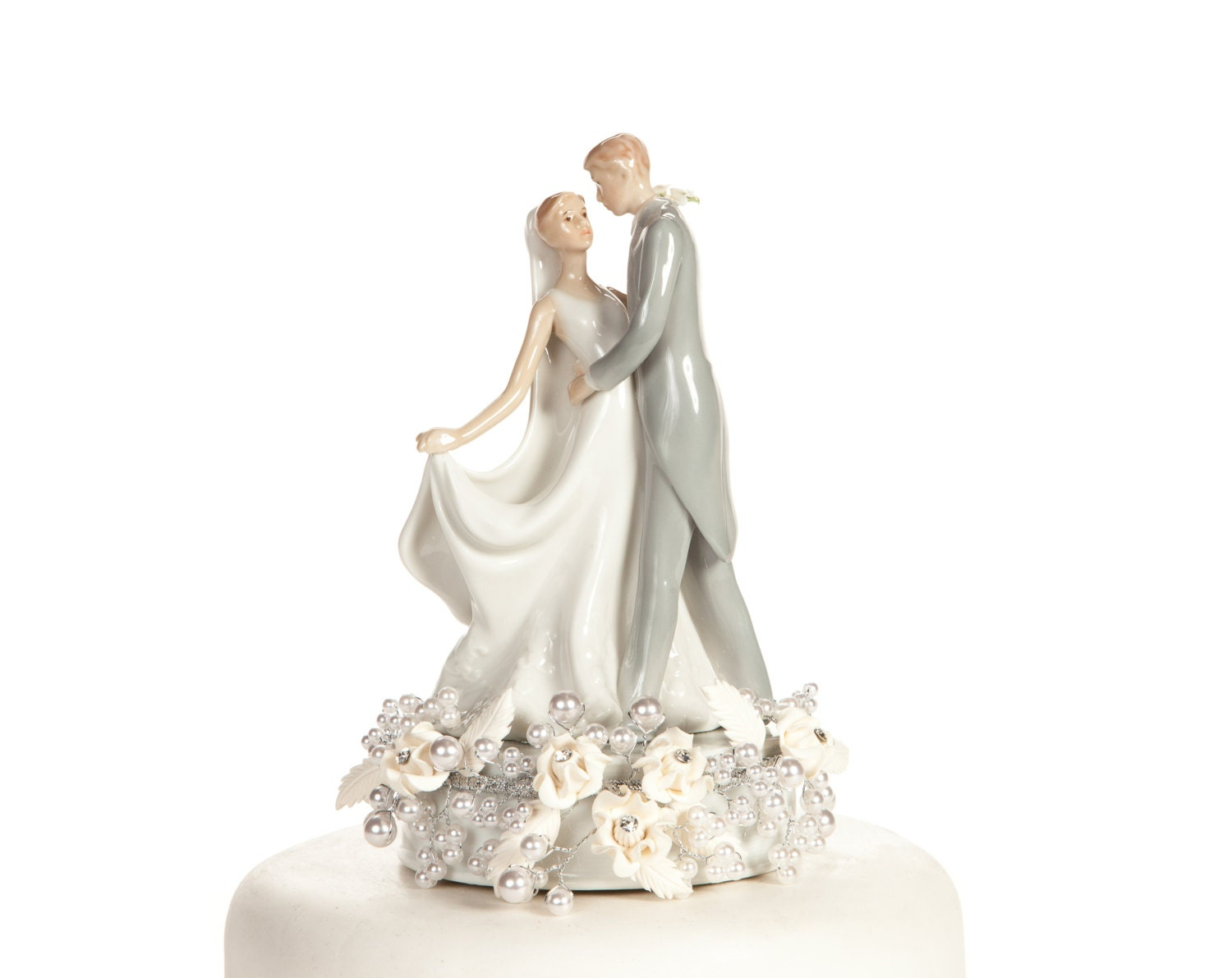 Vintage Rose Pearl First Kiss Wedding Cake Topper 101168