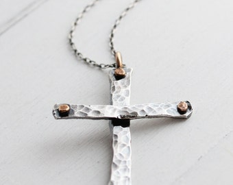 Rustic Cross Pendant, Handmade Cross, Sterling silver and bronze, Statement necklace, recycled silver, old rustic keepsake,