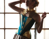 """Avant Garde Corset, Edwardian Shaped S-Bend in Teal Dupioni with Gold Leather Accents and Brass Metal Findings, Sample Sale 22"""" size XS"""