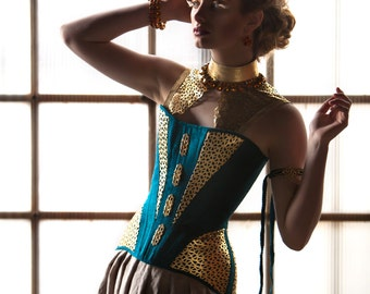 "SAMPLE SALE Avant Garde Corset, Edwardian S-Bend in Teal Dupioni with Gold Leather Accents and Brass Metal Findings, Sample Sale 22"" size XS"