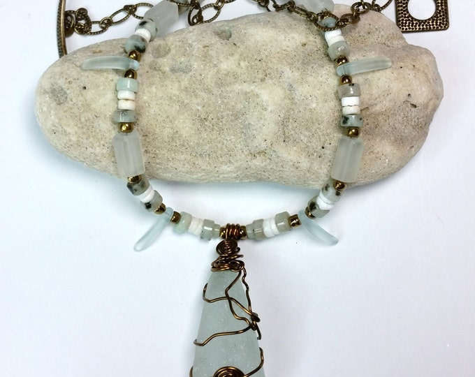 Sea-foam Green Beach Glass Pendant with Kiwi Jasper and Shell Accents