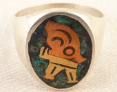 Size 10.25 Vintage Mexican Sterling Mixed Metal Pictograph Mosaic Inlay Ring