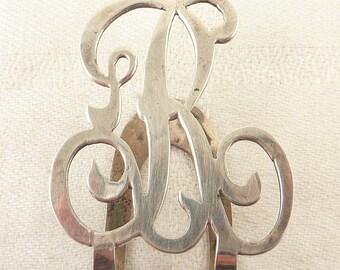 Vintage Sterling Cutout Ornate Letter 'R' Money Clip