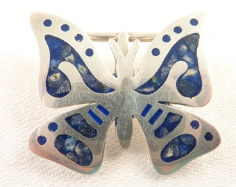 SALE --- Vintage Mexican Sterling Sodalite Inlay and Enamel Butterfly Brooch/Pendant