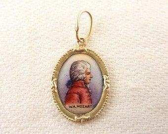 Vintage 14K Gold Mozart Enamel Portrait Charm