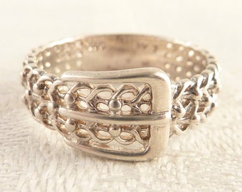 Vintage Size 7 Sterling Filigree Belt Band Ring