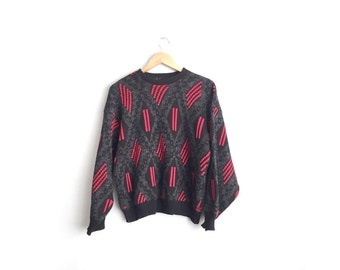 SALE // Size M // KNIT PATTERNED Sweater // Black & Red - Grunge - Acrylic Pullover - Vintage '80s Men's.