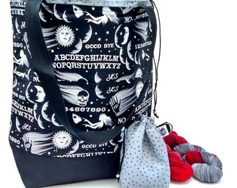 Studio Tote Extra Large Knitting Project Crochet WIP Tote Bag - Wicked Ouija