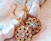 Art Deco Earrings - Diamond - Crystal Cluster Earrings - Italian Renaissance Jewelry - AURORA Ice