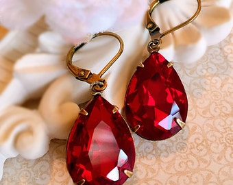 Best Ruby Earrings - Red - Victorian Jewelry - Dangle - CAMBRIDGE Red