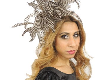 Chinchilla Brown Mink Beige Stripey Feather Bomb Fascinator  Hat for Weddings, Occasions and Parties on a Headband
