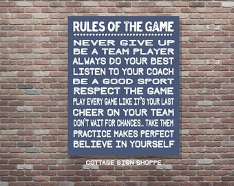 Rules Of The Game,Sports Wall Art, Sports Wall Decor, DIGITAL, YOU PRINT, Sports Decor, Sports Theme, Sports Room, Boys Sports Decor