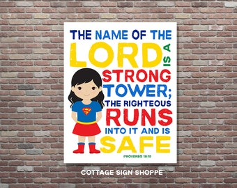 Proverbs 18:10,The Name Of the Lord Is A Strong Tower, DIGITAL, YOU PRINT, Superhero Decor,Christian Bible Verse,Christian Superhero